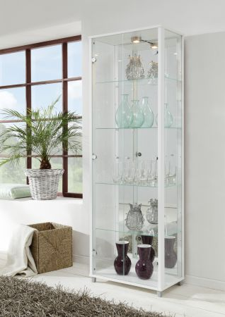 Vitrine Glasvitrine 2-türig silber/alufarben mit Spiegelrückwand und Beleuchtung