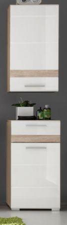 Badezimmer Hängeschrank SetOne in Hochglanz weiß und Eiche San Remo Badschrank 37 x 77 cm Badmöbel