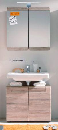 """Waschbeckenunterschrank """"Malea"""" in Eiche San Remo hell Badschrank 65 x 56 cm"""