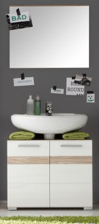 Badmöbel Set weiß Hochglanz und Eiche San Remo Waschplatz SetOne 2-teilig