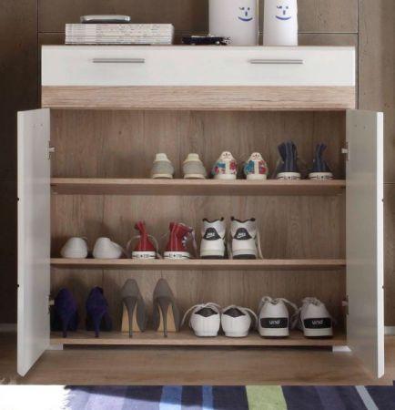 Schuhschrank SetOne in Hochglanz weiß und Eiche San Remo Flur Kommode 91 x 95 cm