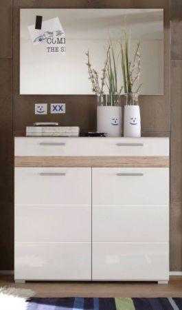 Garderobenkombination SetOne in Hochglanz weiß und Eiche San Remo Garderobenset 2-tlg. Schuhschrank und Spiegel