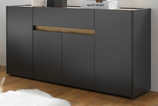 Sideboard Center in grau matt und Eiche Wotan 170 cm