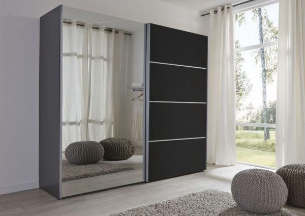 Schwebetürenschrank Kleiderschrank Dekor schwarz Spiegeltür Breite 236 cm