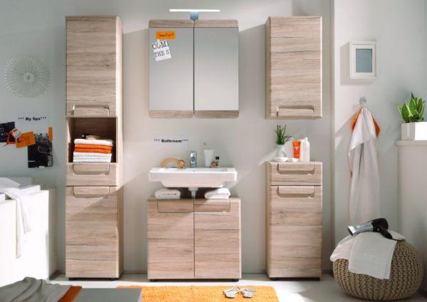 """Badezimmer Spiegelschrank """"Malea"""" in Eiche San Remo hell Badschrank 65 x 70 cm"""