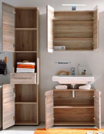 """Badmöbel Set """"Malea"""" 3-teilig in Eiche San Remo hell mit Spiegelschrank, Waschbeckenunterschrank und Hochschrank"""