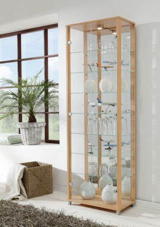 Vitrine Glasvitrine 2-türig Buche mit Spiegelrückwand und Beleuchtung