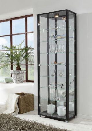 Glasvitrine in Buche Dekor 2-türig mit Spiegelrückwand und Beleuchtung 58 x 172 cm