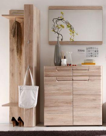 Garderobe Malea 3-teilig in Eiche San Remo Garderobenset mit Garderobenpaneel und Schuhschrank 160 x 191 cm