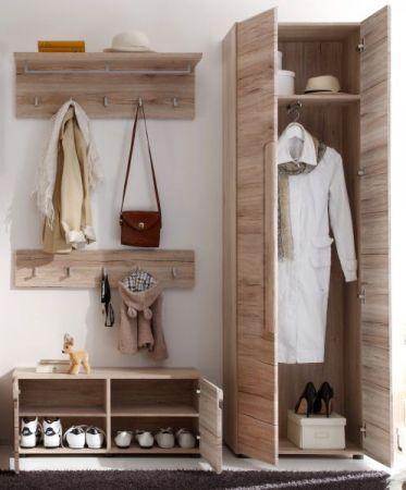 Garderobe Malea 4-teilig in Eiche San Remo Garderobenset mit Schuh- / Garderobenschrank 168 x 191 cm