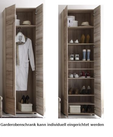 Garderobenschrank und Schuhschrank Malea in Eiche San Remo Garderobe 60 x 191 cm