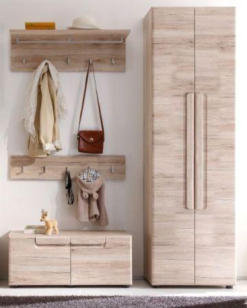 Garderobe Sitzbank Malea in Eiche San Remo Garderobenbank und Schuhschrank 88 x 38 cm