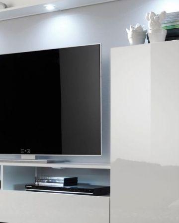 """Wohnzimmer: Wohnwand """"Dos"""" weiß Hochglanz (208 x 165 cm) 4-teilig"""