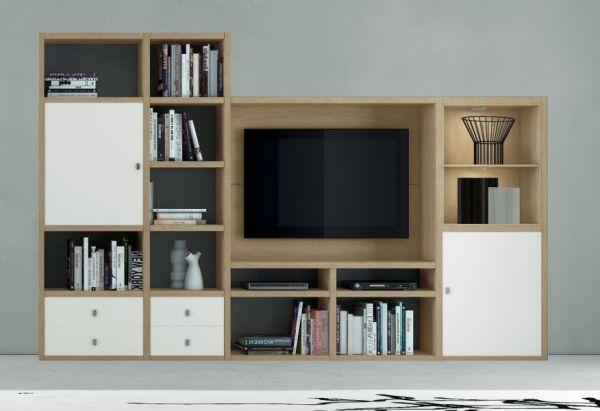 Wohnwand Mediawand Bücherwand MDor Eiche Natur Lack weiß matt mit TV-Fach LED-Beleuchtung