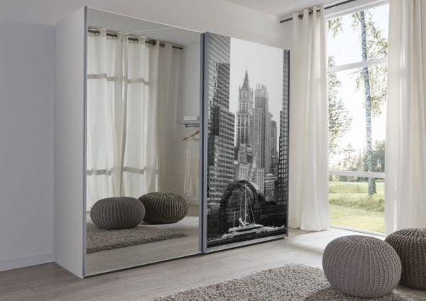 Schwebetürenschrank Kleiderschrank Dekor weiß und Bild Breite 236 cm
