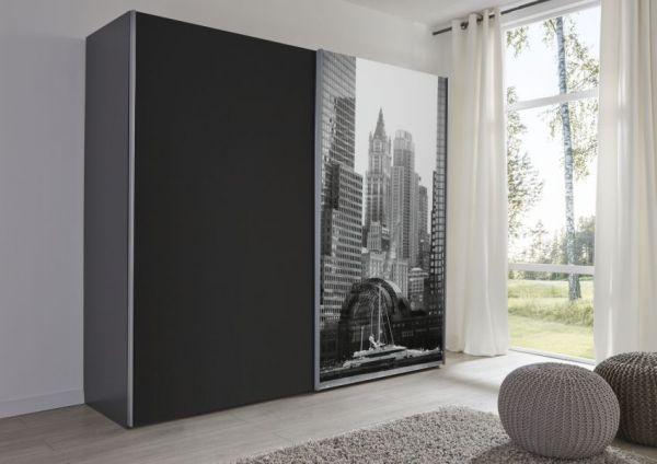 Schwebetürenschrank Kleiderschrank Dekor schwarz und Bild Breite 202 cm