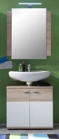 """Badezimmer Spiegelschrank """"Campus"""" in Eiche San Remo hell und weiß Badschrank 60 x 80 cm"""