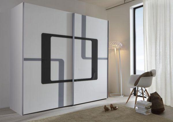 Schwebetürenschrank Kleiderschrank Dekor weiß mit Druck schwarz und Anthazit Breite 236 cm