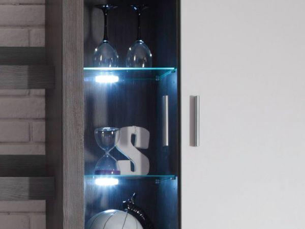 Wohnwand Ocean 5 tlg. Silbereiche und weiß inkl. LED Beleuchtung Breite 293 cm