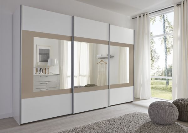 Schwebetürenschrank Kleiderschrank Dekor weiß mit Spiegel Rahmen schwarz Breite 301 cm