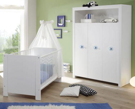 Babyzimmer Set Olivia weiß 2-teilig Babybett und Kleiderschrank