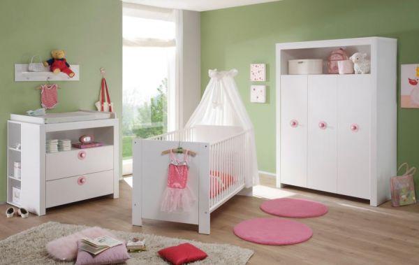 Babyzimmer Olivia in weiß und rosa komplett Set 5-teilig mit Kleiderschrank Babybett Wickelkommode mit Regal und Wandregal