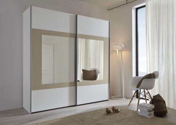 Schwebetürenschrank Kleiderschrank Dekor weiß mit Spiegel Rahmen Sand Breite 202 cm