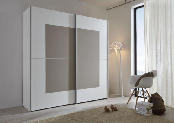 Schwebetürenschrank Kleiderschrank Dekor weiß mit Glas sandfarben Breite 202 cm