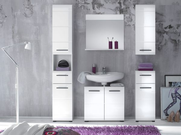 Badmöbel Set Skin in Hochglanz weiß Badkombination 3-teilig Badezimmer 115 x 182 cm