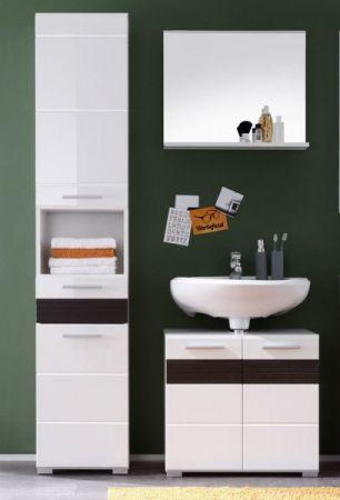 Badezimmer Set Badmöbel Mezzo weiß Hochglanz mit Eiche dunkel 3-teilig