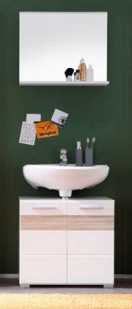 Badezimmer Set Badmöbel Mezzo weiß Hochglanz mit Eiche hell 2-teilig
