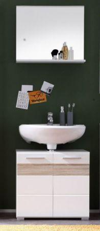 """Waschbeckenunterschrank """"Mezzo"""" Hochglanz weiß, mit Eiche hell (60x56 cm)"""
