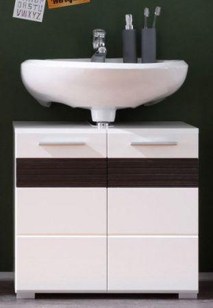 """Waschbeckenunterschrank """"Mezzo"""" Hochglanz weiß, mit Eiche dunkel (60x56 cm)"""