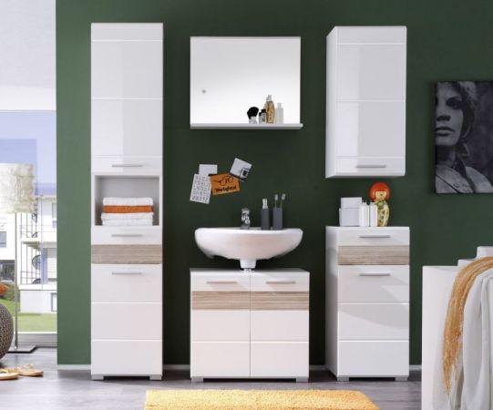 Badezimmer Unterschrank Kommode Mezzo weiß Hochglanz mit Sonoma Eiche sägerau hell