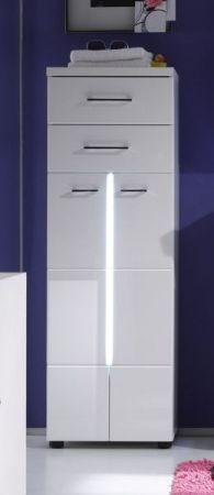 Badkombination Badmöbel Set Nightlife 3-teilig Hochglanz weiß tiefgezogen mit LED Beleuchtung