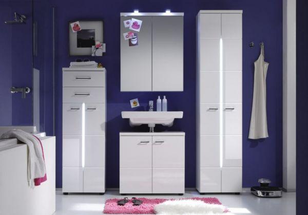 Badezimmer Hochschrank Nightlife Hochglanz weiß tiefgezogen inkl. LED Beleuchtung