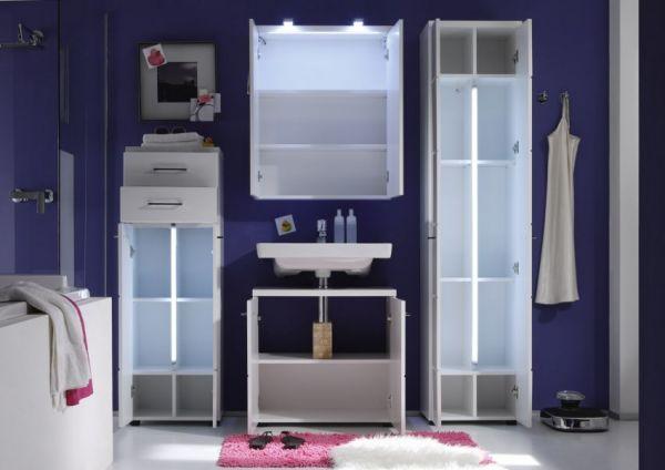 Badschrank Kommode Nightlife weiß Hochglanz Midischrank mit LED Beleuchtung