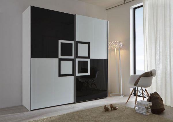 Schwebetürenschrank Kleiderschrank Dekor weiß schwarz Druck Breite 202 cm