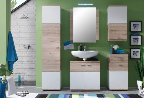 """Badmöbel """"Campus"""" komplett Set 5-teilig in Eiche San Remo hell und weiß Badkombination 173 x 189 cm mit Spiegelschrank"""