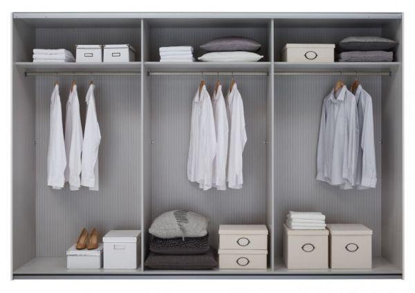 Schwebetürenschrank Kleiderschrank Dekor weiß Spiegelglas Breite 301 cm