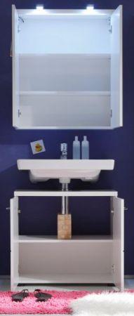 Badmöbel Set Nightlife Hochglanz weiß tiefgezogen 2-teilig LED Beleuchtung optional