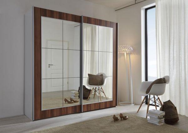 Schwebetürenschrank Kleiderschrank Dekor weiß Walnuss Spiegelglas Breite 202 cm