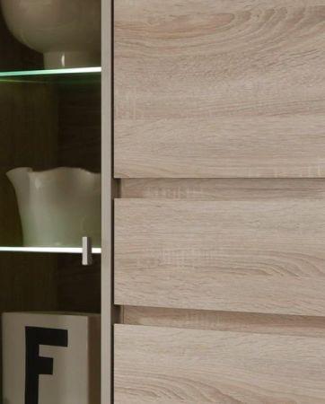 Wohnwand Schrankwand Sevilla Eiche Sonoma hell Glas brüniert inkl. LED Beleuchtung 372 cm