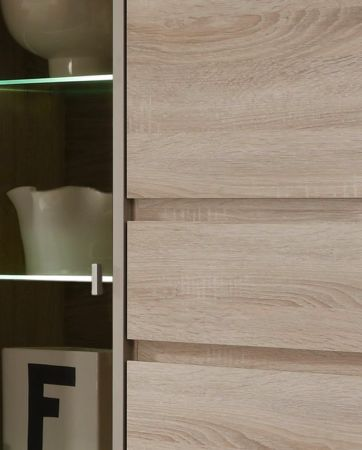 Wohnwand Schrankwand Sevilla 5 tlg. Eiche Sonoma hell mit getöntem Glas und LED Beleuchtung B 342 cm