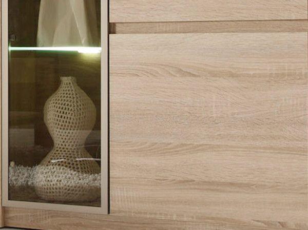 Highboard Vitrinenschrank Sevilla Eiche Sonoma hell mit getöntem Glas und LED Beleuchtung 144 x 136 cm