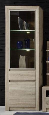 Hochschrank Vitrinenschrank Sevilla Eiche Sonoma hell mit getöntem Glas und LED Beleuchtung 64 x 200 cm