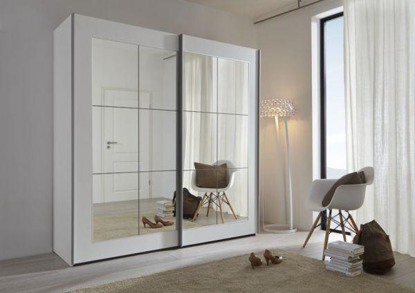 Schwebetürenschrank Kleiderschrank Dekor schwarz Spiegelglas Breite 236cm