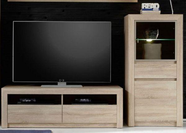 TV-Lowboard Sevilla Eiche Sonoma hell mit Schubkästen 140 x 46 cm