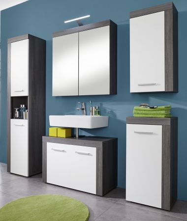 Badmöbel Spiegelschrank Miami in Sardegna Rauchsilber grau Badschrank 2-türig 72 x 79 cm