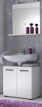 Badezimmer Spiegel Skin in Hochglanz weiß Badmöbel 60 x 55 cm Badspiegel mit Ablage